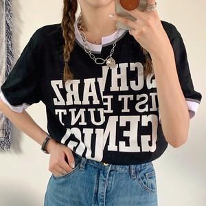 【トップス】目立つ アルファベット 切り替え ゆったり 着痩せ 半袖 Tシャツ45951678