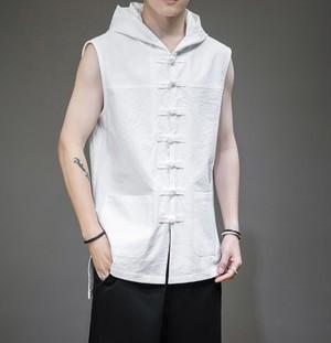 ノースリーブフード付きシャツ。ダブルポケットがおしゃれブラック/ホワイト2カラー