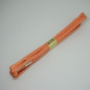 未使用 帯締め 正絹 丸組 手組み オレンジ  006