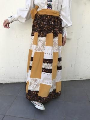 70s mustard × brown × lace patchwork wrap skrit ( ヴィンテージ マスタード × ブラウン × レース パッチワーク ラップスカート )