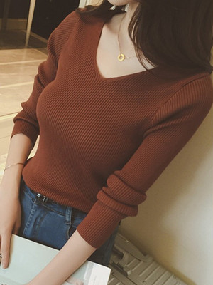 【tops】Solid color V-neck long sleeves sweater