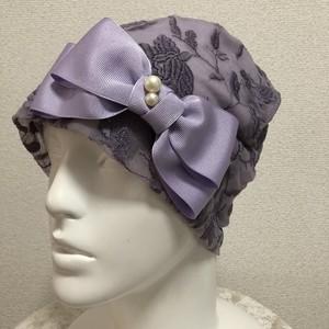 訳ありセール☆レース生地のケア帽子 薄紫