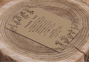 49円~/枚 クラフト紙サンキューカード 印刷代込 【ラスティックフラワー】│結婚式 ウェディング