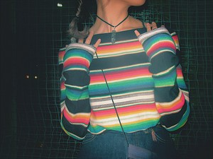 Vintage rainbow striped knit shirt