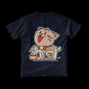 <ネイビーTシャツ 背面>おすわりみーちゃん