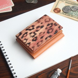三つ折り ミニ財布(テガキ レオパード)牛革 オールレザー ILL-1126
