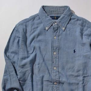 【Mサイズ】RL ラルフローレン PONY COTTON SHIRTS 長袖シャツ BLUE/CHECK ブルー 400602190885
