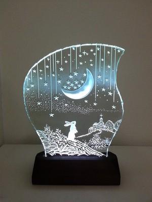 星降る夜・ウサギ ガラスエッチングパネル Mサイズ・LEDスタンドセット