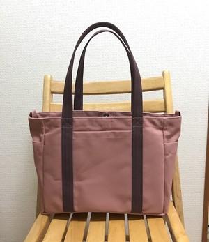 (受注生産)「ポケットトート」通勤トート「ファインローズ×アズキ」帆布トートバッグ