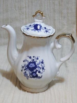 現品限り アンティーク調 陶器 ティーポット ブルーの花柄