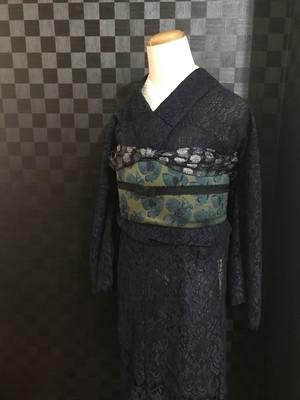 紺のレース着物【単衣】