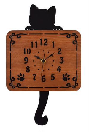 黒猫木製振り子時計