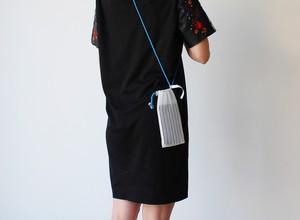 zero:Pleats pochette(ストライプ)プリーツ・ポシェット:ショルダーバッグ 軽い 透ける 透明感