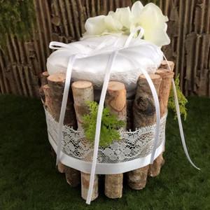 森のナチュラルウエディング白樺小枝のリングピロー(イタリア製サテン・天然木使用)完成品