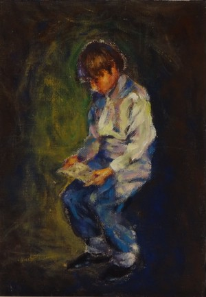 読書する少年 アクリル画 手描き