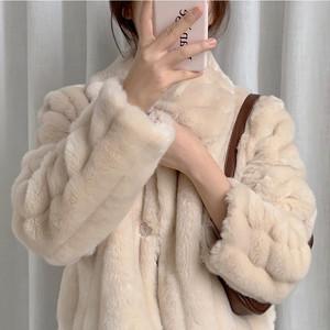 全2色襟付きエコファーショート丈コート
