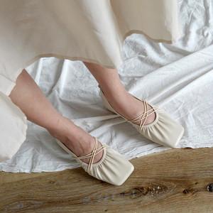 ナチュラルフラットシューズ ギャザー ぺたんこ 楽ちん フェミニン 靴 韓国