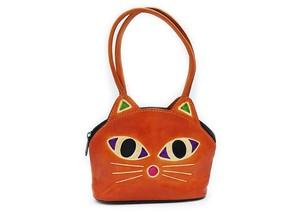 ミニバッグ 手つきポーチ 猫 オレンジ ヤンピー インドレザー