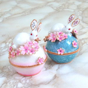 小さな宝石箱 ジュエリーボックス ウサギと桜A