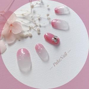 Pukeネイル発送無料[No.259]ドットグラデーション可愛いデザイン・バレンタイン・デート♡ジェイルネイルチップ