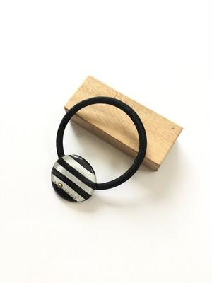 丸いヘアゴム ボーダー 黒×白