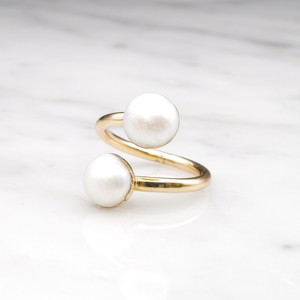 DOUBLE PEARL OPEN RING 02