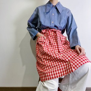 70s gingham check shirt dress【052】