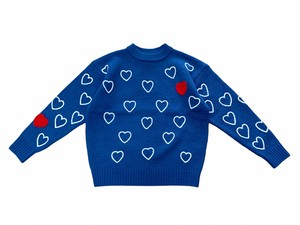 【Chah Chah】Heartfull Hand Embroidery Knit (navy)