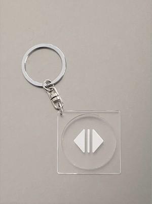 キーホルダー【開】白色マーク透明丸