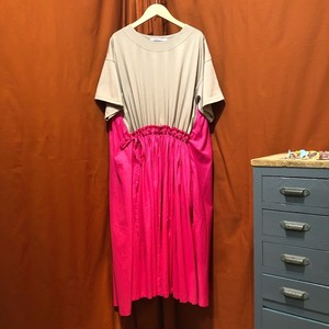 Lilou&Lily : 60LAWN/COTTON JERSEY DOCKING GATHER ONE-PIECE DRESS   Color : Pink
