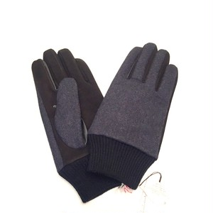 Lamb Suede Tweed Glove Navy×Black