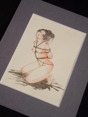 直筆絵シート 女 緊縛絵 鉛筆、水彩/紙(マットき)