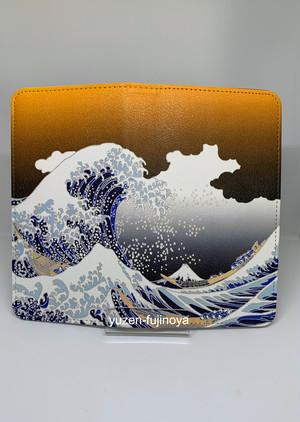 手描友禅 手帳型スマートフォン 浮世絵 富嶽三十六景 神奈川沖浪裏