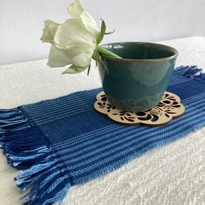 テーブルセンター クロス Sサイズ 手織り 木綿 藍染 草木染 ハンドメイド インテリア 敷物 結工房 日本製