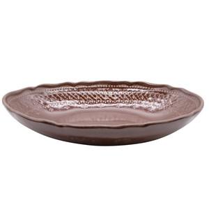 益子焼 わかさま陶芸 「フレンチレース」 楕円鉢 ボウル 皿 約26×18cm ブラウン 256067