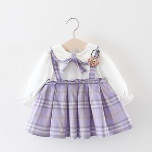 【ワンピース】韓国風チェック柄花飾りリボンラウンドカラー長袖コットン子供服ワンピース26802140