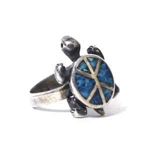 Navajo Vintage Sterling Silver Turquoise Inlay Turtle Ring