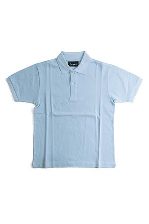 《Made in France》オリジナル 半袖 鹿の子ポロシャツ 2つ釦 〈パステルブルー〉