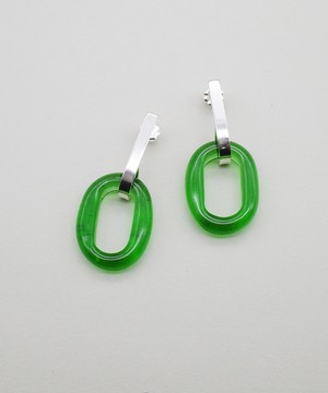 【CLED / クレッド】Minimal Loop Pierce / ピアス / Sterling silver×Green Forest