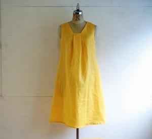 麻 黄色 タックワンピース Mサイズ