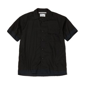 OPEN COLLAR HALF SLEEVES SHIRT -BLACK