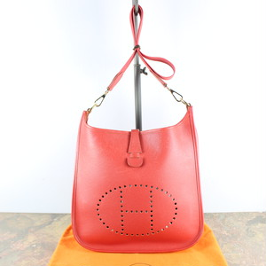 .HERMES LOGO LEATHER SHOULDER BAG MADE IN FRANCE エルメスエヴリンロゴレザーショルダーバッグ2000000048390