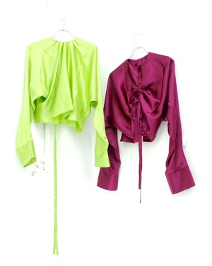 【GROUND ZERO】DRAPED SILK TOP