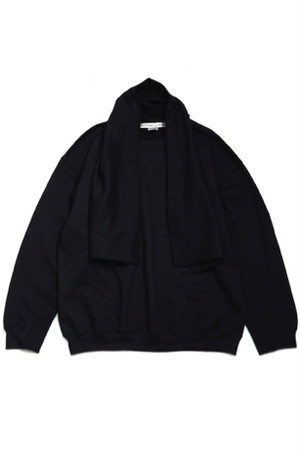 Elbow Patched Sweat With Scarf Collaborated PRE_ -BLACK- / soe