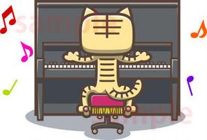 アップライトピアノをひく猫のイラスト素材