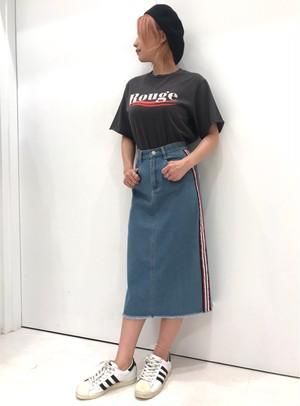 ☆SALE☆10ozデニム/マルチライン/フリンジスカート/サックス/202-834012