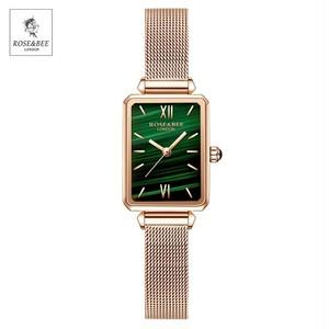 グリーンマラカイト日本クォーツムーブメント高品質レディース腕時計女性ステンレス鋼メッシュローズゴールド腕時計4011WFF