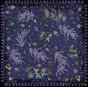 手巻きシルクスカーフ[ミモザの星降る夜に]パープル