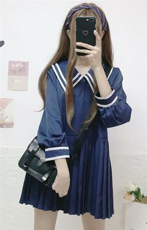 【dress】学園風無地長袖AラインPOLOネックカジュアルワンピ17895246