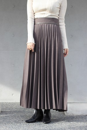 【SAYAKADAVIS】pleated long skirt-coffee